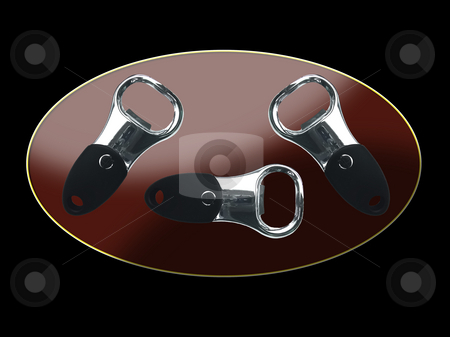 Bottle Openers stock photo, Three bottle openers on the glassy background by Petr Koudelka