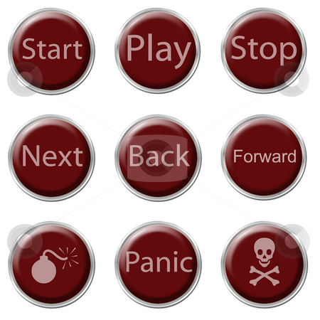 Button Set stock photo, A set of nine red buttons on the white background by Petr Koudelka