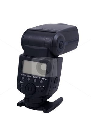 Flash stock photo, An external system flash isolated on the white background by Petr Koudelka