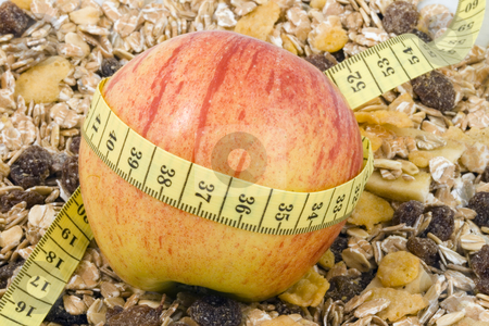 Healthy Diet stock photo, An apple and some cornflakes - healthy diet by Petr Koudelka