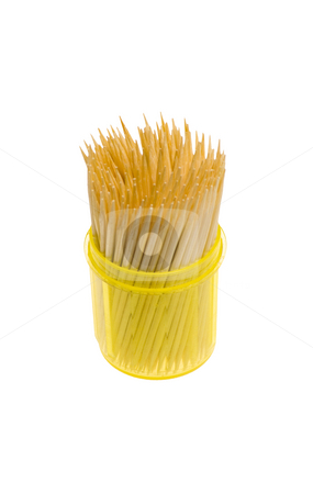 Toothpicks stock photo, Toothpicks in a yellow box isolated on the white background by Petr Koudelka