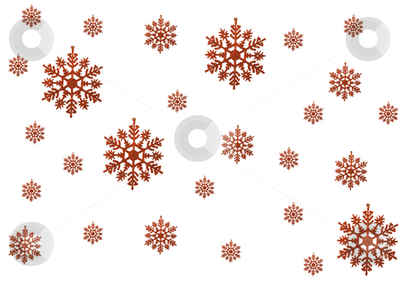 Christmas Background stock photo, A few of red snowflakes on the white background by Petr Koudelka