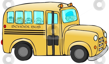 School Bus stock photo, This illustration depicts a school bus with children and driver inside. by Dennis Cox