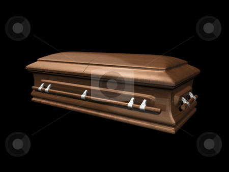 Casket side view on black stock photo, Casket side view on black background 3D. by John Teeter