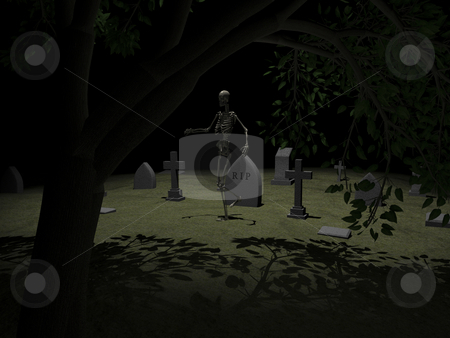 Skeleton stock photo, Skeleton in grave yard 1 - 3D image. by John Teeter