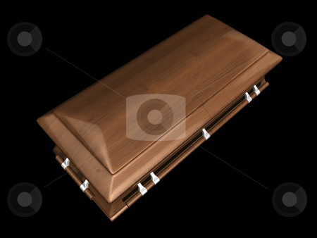 Casket top view on black stock photo, Casket top view on black background - 3D. by John Teeter