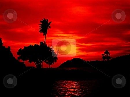 Brilliant sunset silhouette stock photo,  by ZaKaRiA- MaStErPiEcE