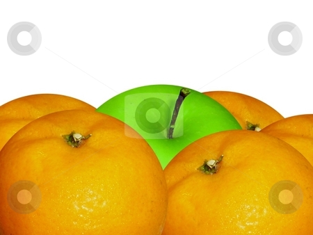 Oranges surrounding green apple stock photo, Five oranges encircle a green apple with a white background. by ZaKaRiA- MaStErPiEcE