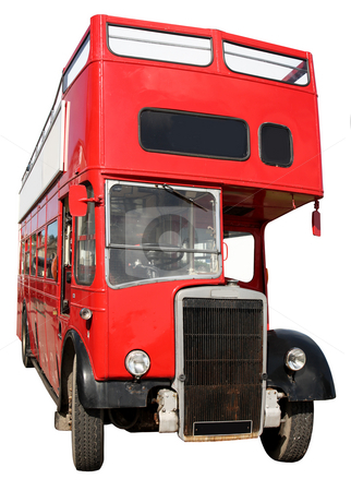 An old red London double-decker sightseeing open top bus. stock photo, An old red London double-decker sightseeing open top bus, isolated on a white background. by Stephen Rees