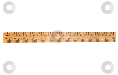 A 30 cm wooden ruler, isolated on a white background. stock photo, A 30 cm wooden ruler, isolated on a white background.  Flip it over for a 12 inch ruler. by Stephen Rees