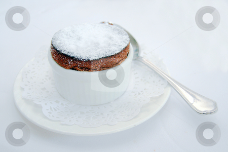 Chocolate souffle stock photo, Dark chocolate souffle served as a dessert by Jonas Marcos San Luis