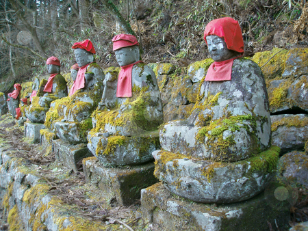 Stone jizo status stock photo, Jizo status, memorial for the young dead by Stephen Gibson