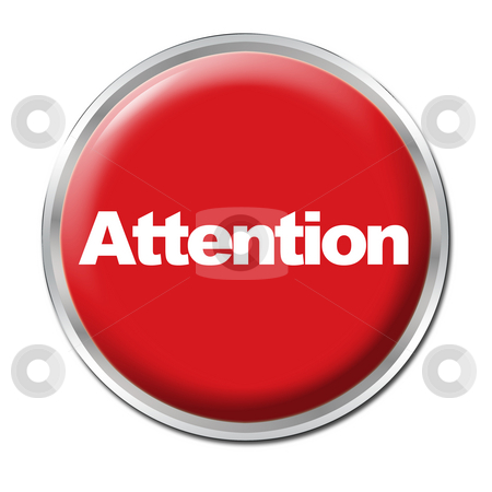 Attention Button stock photo, A round red button with a word Attention by Petr Koudelka