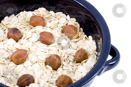 Bowl of Oatmeal stock photo, A bowl of oatmeal with hazelnuts - healthy diet by Petr Koudelka