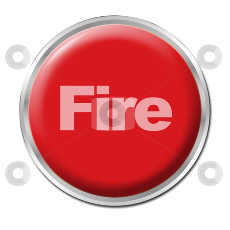 Fire Button stock photo, Red round button with the word Fire by Petr Koudelka