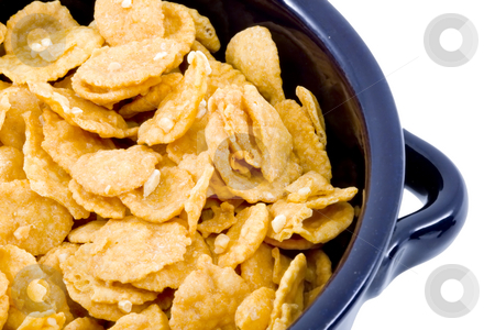 Bowl of Cornflakes stock photo, A bowl of plain dry cornflakes - healthy diet by Petr Koudelka