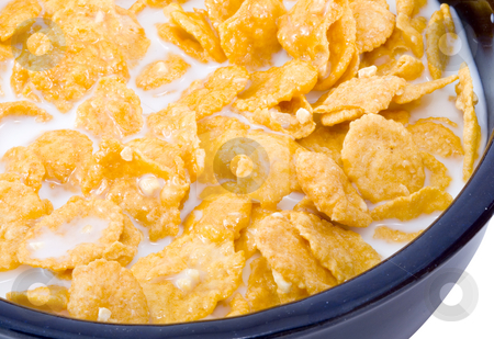 Bowl of Cornflakes with Milk stock photo, A bowl of cornflakes with milk - healthy diet by Petr Koudelka