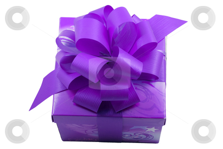 Violet Present stock photo, A violet present with a violet ribbon isolated on the white background by Petr Koudelka