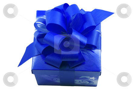Blue Present stock photo, A blue present with a blue ribbon isolated on the white background by Petr Koudelka