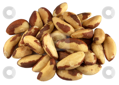 Brazil nuts isolated on a white background. stock photo, Brazil nuts isolated on a white background. by Stephen Rees