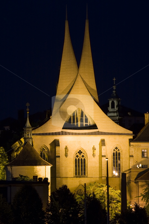Prague by Night stock photo, Monastery Emauzy (Emmaus)  in Prague by night - night city by Petr Koudelka