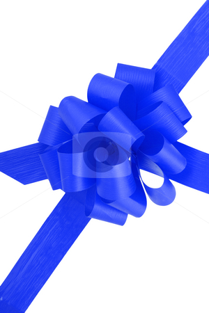 Blue Ribbon stock photo, A blue ribbon  isolated on the white background by Petr Koudelka