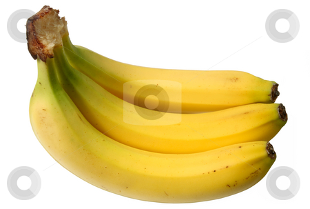 Bunch of 3 bananas isolated over white. stock photo, Bunch of 3 bananas isolated over white. by Stephen Rees