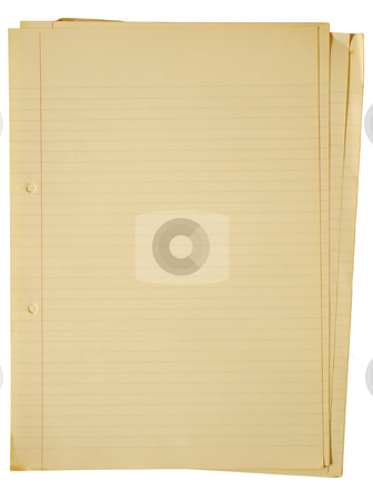 Old yellowing A4 faint lined sheets of paper. stock photo, Old yellowing A4 faint lined sheets of paper isolated on a white background. by Stephen Rees