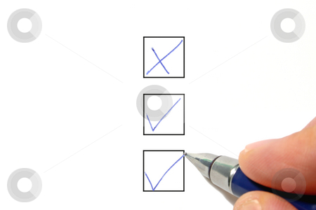 Filling out a check box, on a white background. stock photo, Filling out a check box, on a white background. by Stephen Rees
