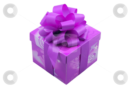 Purple Present stock photo, A purple present with a purple ribbon isolated on the white background by Petr Koudelka