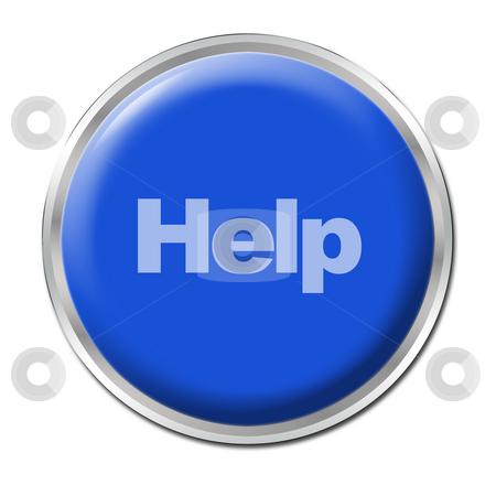 Help Button stock photo, Blue round button with the word help by Petr Koudelka