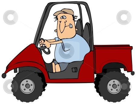 Man Driving A UTV Vehicle stock photo, This illustration depicts a man driving a UTV recreational vehicle. by Dennis Cox