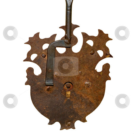 Isolated Lock stock photo, An intricate rusty lock isolated on a white background by Richard Nelson