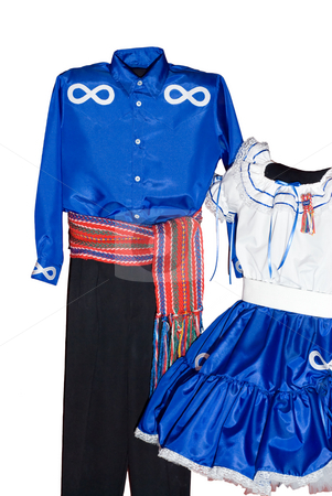 Isolated Metis Clothes stock photo, Male and female metis clothing, isolated on a white background by Richard Nelson