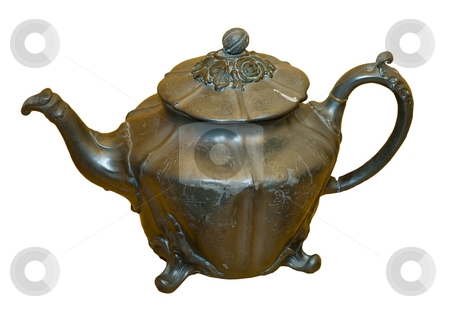 Isolated Teapot stock photo, An antique brass teapot isolated on a white background by Richard Nelson