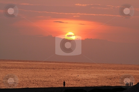 Beach at Sunset stock photo, Sunset at Panama City Beach, Florida by Debbie Hayes