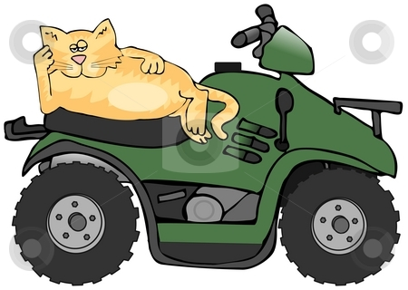 ATV Cat stock photo, This illustration depicts a cat laying on the seat of a green ATV. by Dennis Cox