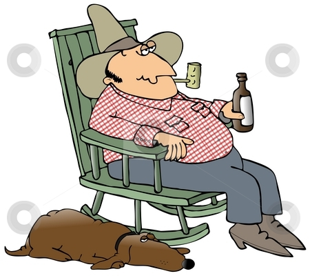 Hillbilly And His Dog stock photo, This illustration depicts a hillbilly sitting in a rocking chair drinking a beer with his dog laying beside him. by Dennis Cox