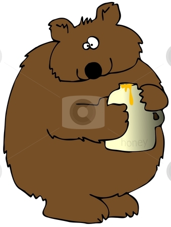 Honey Bear stock photo, This illustration depicts a brown bear holding a jar of honey. by Dennis Cox