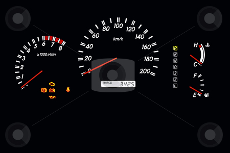 Car dashboard 2 stock photo, Car dashboard of an automatic car with speedometer, gas and temperature gage by Jonas Marcos San Luis