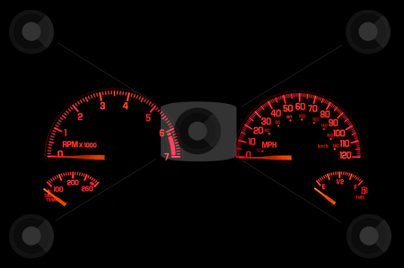 Dashboard Instrument Panel stock photo, An instrument panel in the dashboard of an automobile. by Robert Byron