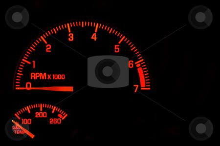 Dashboard Tachometer Temperature Gauge stock photo, A red tachometer and temperature gauge on an automobile dashboard. by Robert Byron