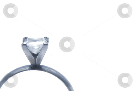 Engagement Ring stock photo, A close-up of a white gold engagement ring. by Robert Byron
