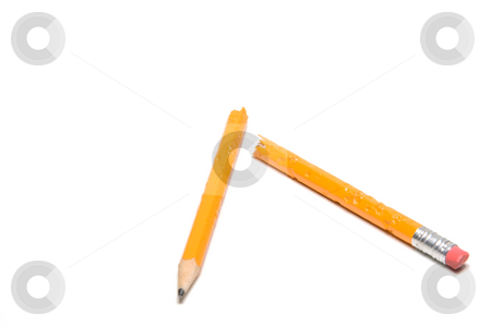 Pencil stock photo, A broken and chewed pencil complete with teeth marks. by Robert Byron