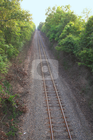 Straight Train Track stock photo, Straight train track extending to the vanishing point. by Robert Byron