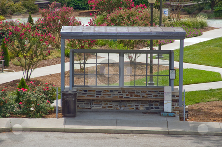 Bus Stop stock photo, An empty bus stop waiting for passengers. by Robert Byron