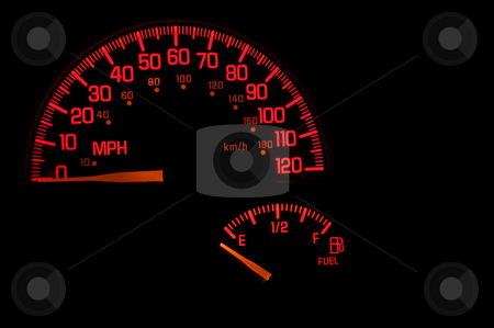 Dashboard Speedometer Gas Gauge stock photo, A red speedometer and gas gauge on an automobile dashboard. by Robert Byron