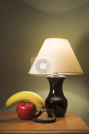 Fruit Phone stock photo, A telephone made from an apple and a banana. by Robert Byron