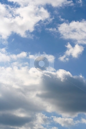 White Billowy Clouds stock photo, White clouds in beautiful blue sky. by Debbie Hayes