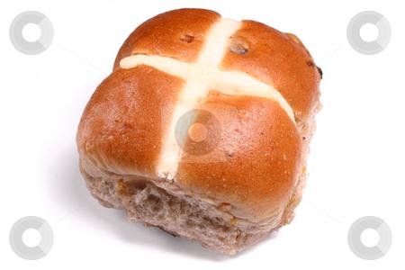 An Easter hot cross bun. stock photo, An Easter hot cross bun. by Stephen Rees
